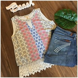 Skies Are Blue Anthropologie Boho Chic Relaxed Top